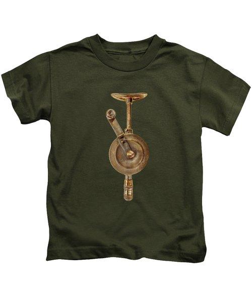 Antique Shoulder Drill Front On Black Kids T-Shirt