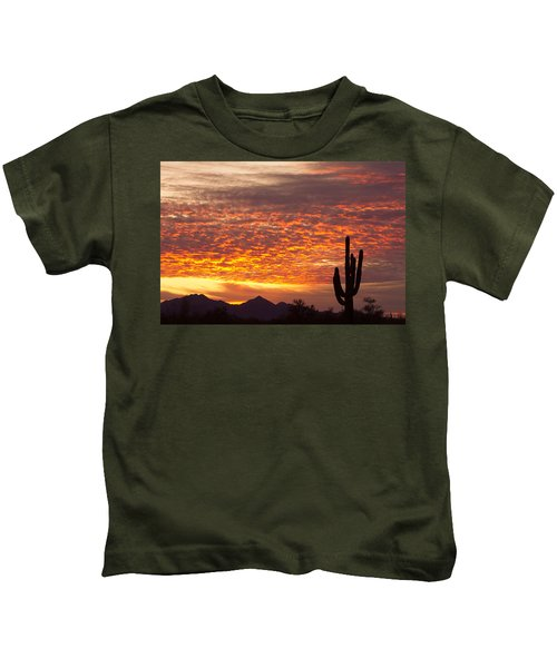 Arizona November Sunrise With Saguaro   Kids T-Shirt