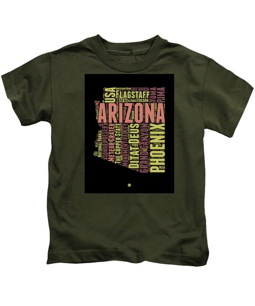 Arizona Word Cloud Map 1 Kids T-Shirt by Naxart Studio