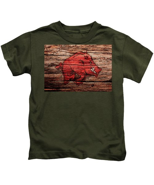 Arkansas Razorbacks 1a Kids T-Shirt by Brian Reaves