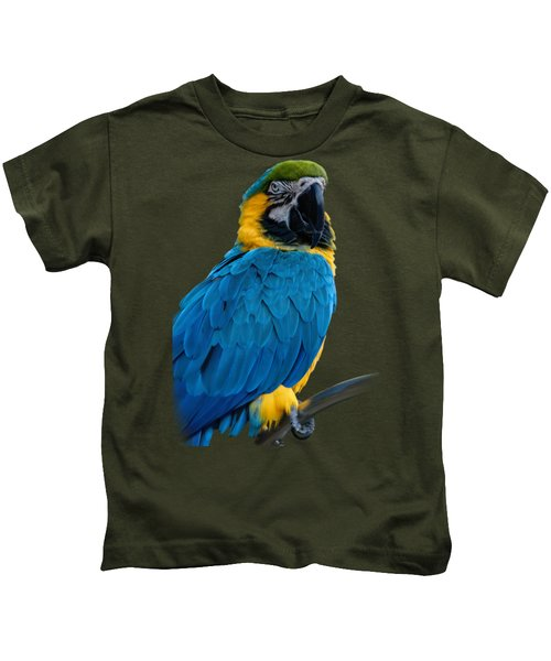 Blue Yellow Macaw No.2 Kids T-Shirt by Mark Myhaver