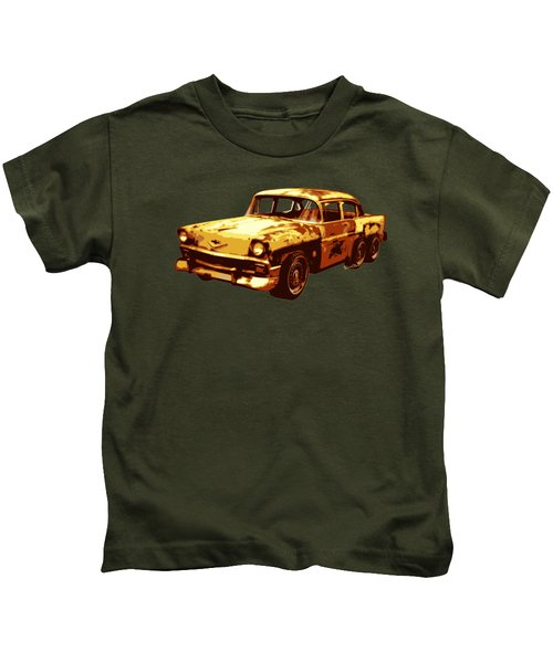 Roadrunner The Snake And The 56 Chevy Rat Rod Kids T-Shirt by Chas Sinklier