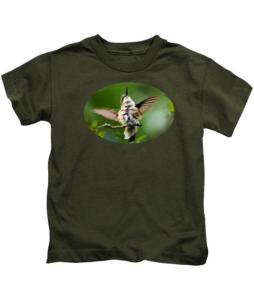 Hummingbird Happy Dance Kids T-Shirt by Christina Rollo