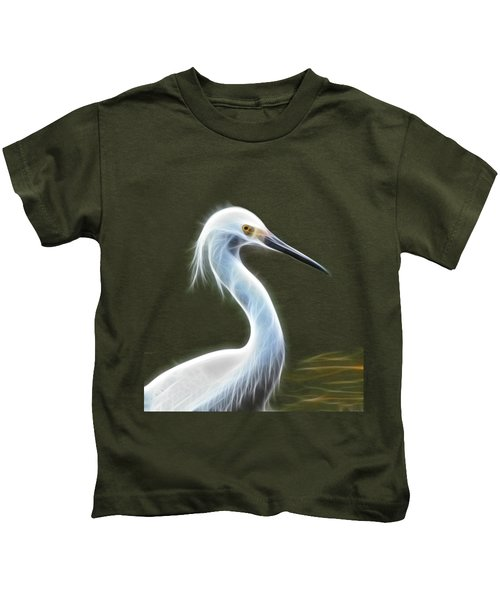 Snow Egret Kids T-Shirt by Shane Bechler