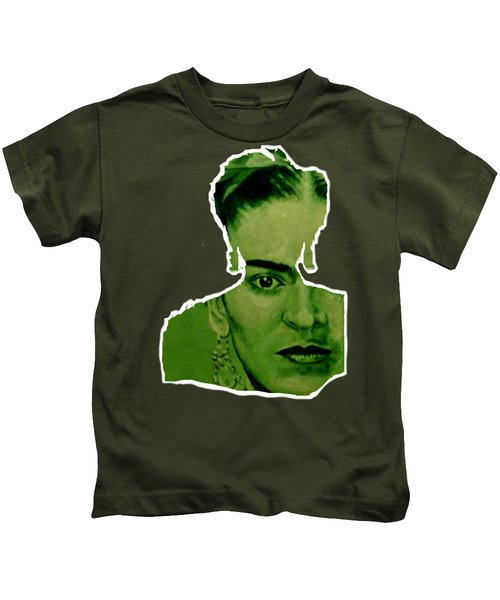 Frida Kahlo - Between Worlds - Green Kids T-Shirt