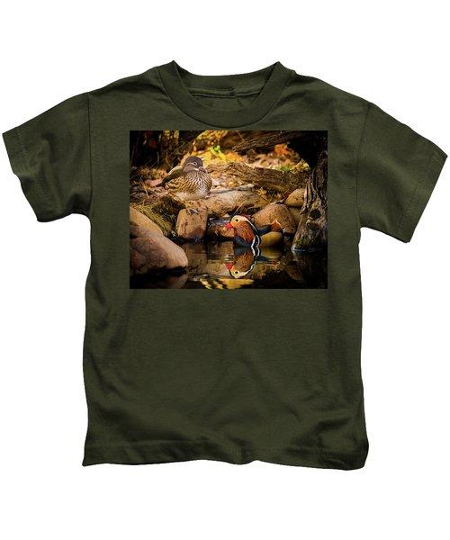 At The Waters Edge - Mandarin Ducks Kids T-Shirt