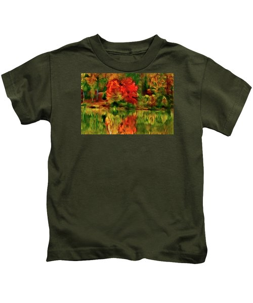Autumn At The Lake-artistic Kids T-Shirt