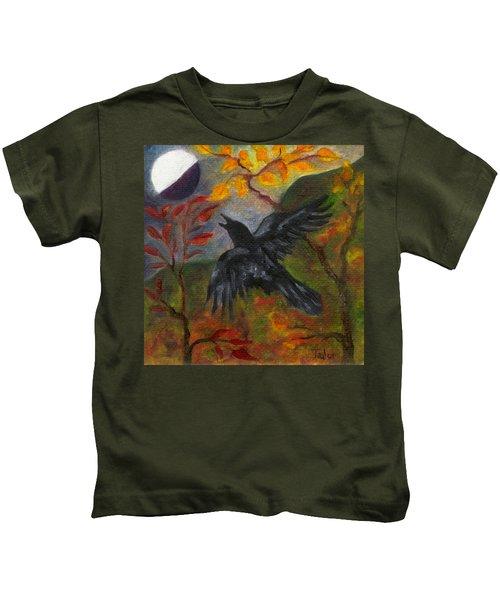 Autumn Moon Raven Kids T-Shirt