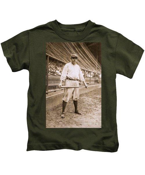 Babe Ruth On Deck Kids T-Shirt by Jon Neidert