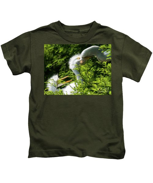 Baby Egrets Being Feed Kids T-Shirt