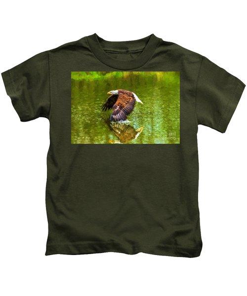 Bald Eagle Cutting The Water Kids T-Shirt