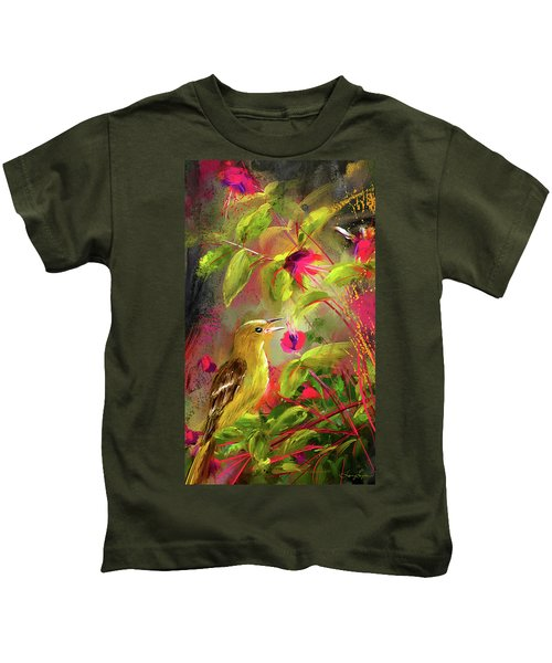 Baltimore Oriole Art- Baltimore Female Oriole Art Kids T-Shirt by Lourry Legarde