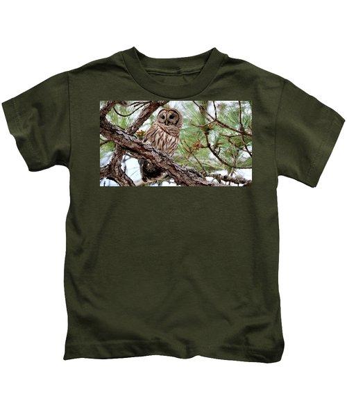 Barred Owl On Tree Branch Kids T-Shirt