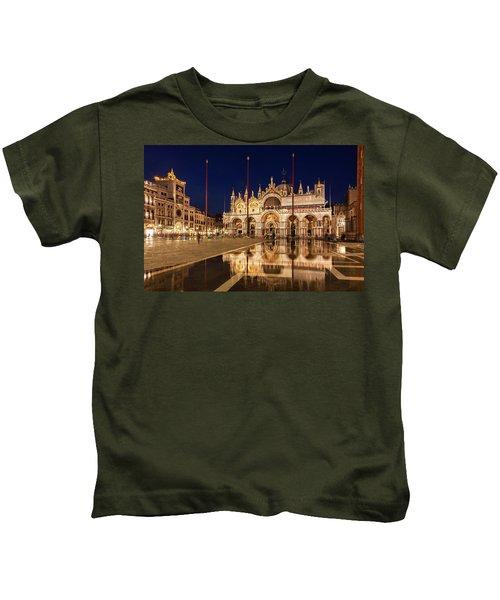 Basilica San Marco Reflections At Night - Venice, Italy Kids T-Shirt