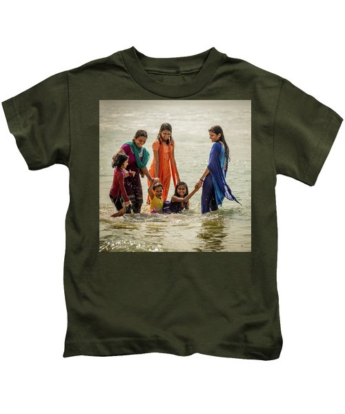 Bathing At Varkala II Kids T-Shirt