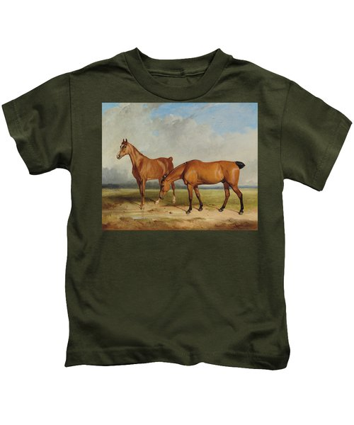 Bay Hunter And Chestnut Mare In A Field Kids T-Shirt