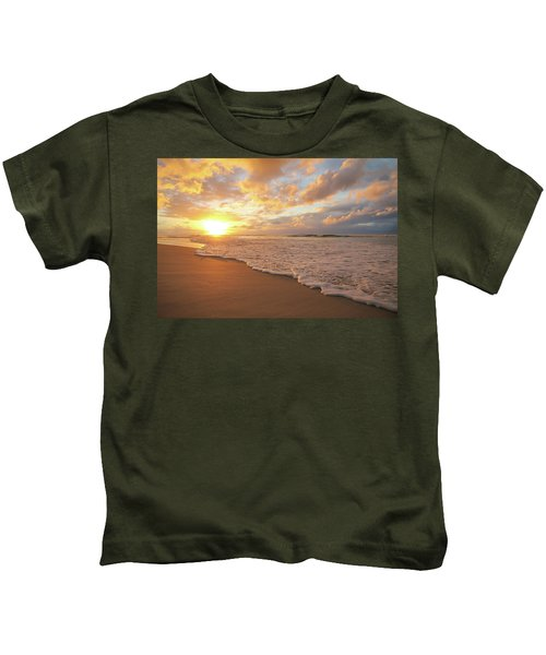 Beach Sunset With Golden Clouds Kids T-Shirt