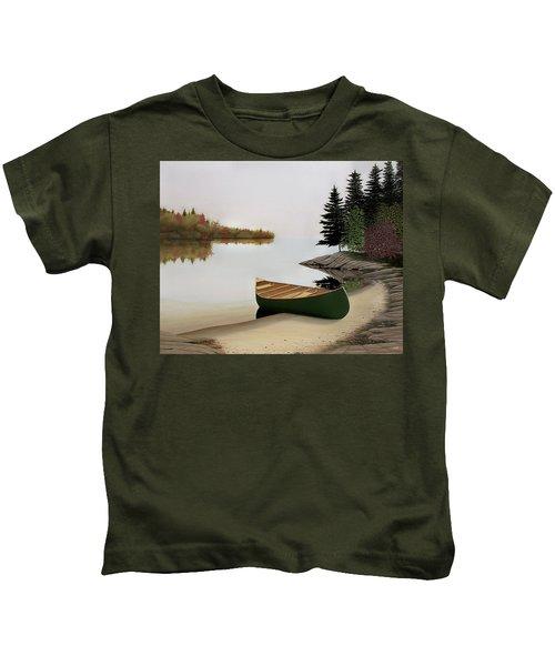Beached Canoe In Muskoka Kids T-Shirt