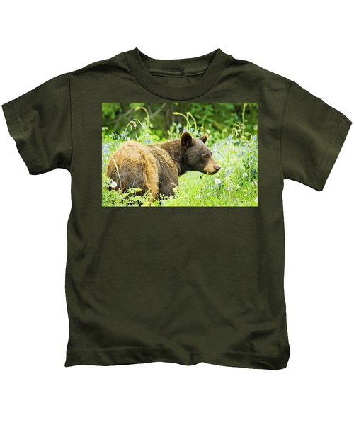 Bear In Flowers Kids T-Shirt