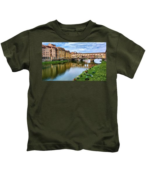 Ponte Vecchio On A Spring Day In Florence, Italy Kids T-Shirt