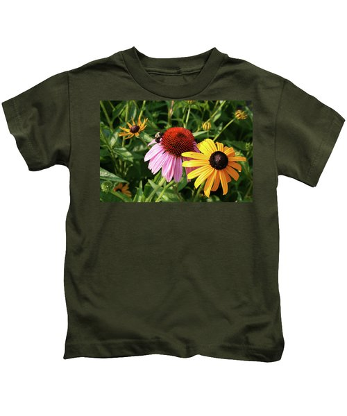 Bee On The Cone Flower Kids T-Shirt