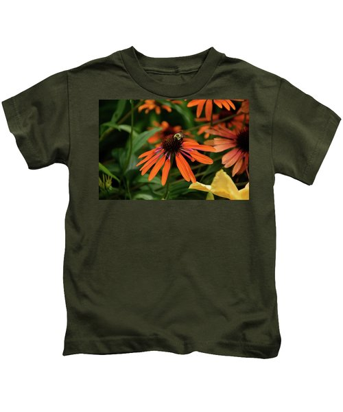 Bee Pollinating On A Cone Flower Kids T-Shirt