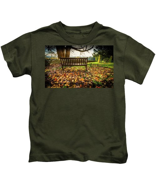 Bench With Autumn Leaves Kids T-Shirt