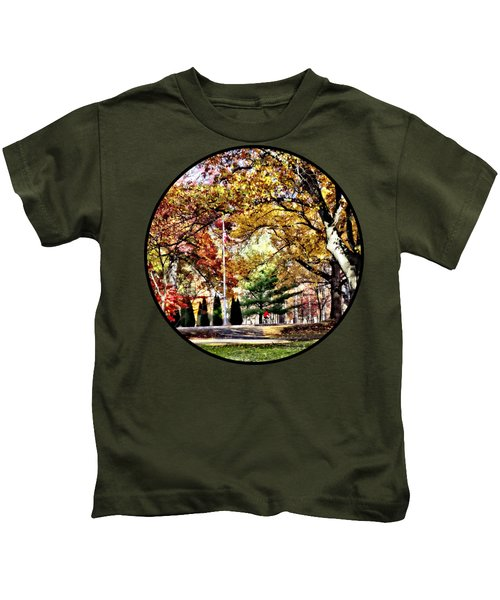 Bicycling In An Autumn Park Kids T-Shirt