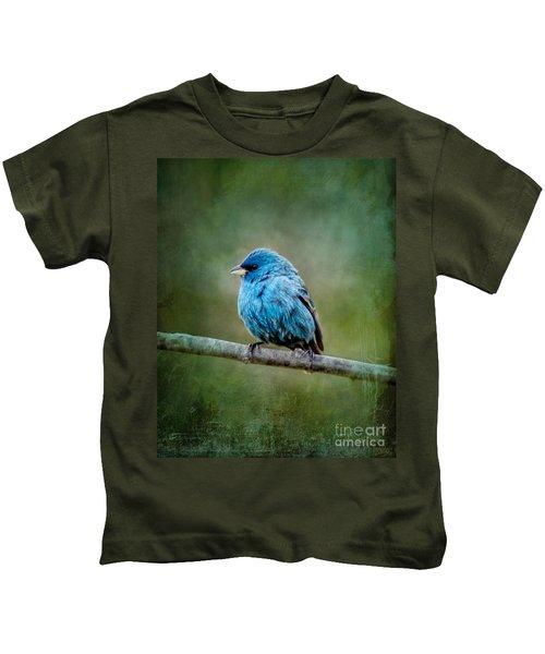 Bird In Blue Indigo Bunting Ginkelmier Inspired Kids T-Shirt