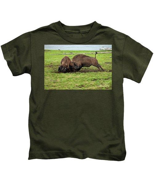 Bison Fighting Kids T-Shirt