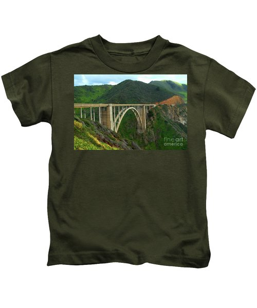 Bixby Bridge In Big Sur Kids T-Shirt