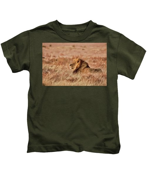 Black-maned Lion Of The Kalahari Waiting Kids T-Shirt