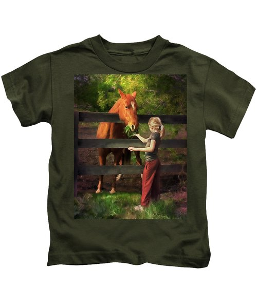 Blond With Horse Kids T-Shirt