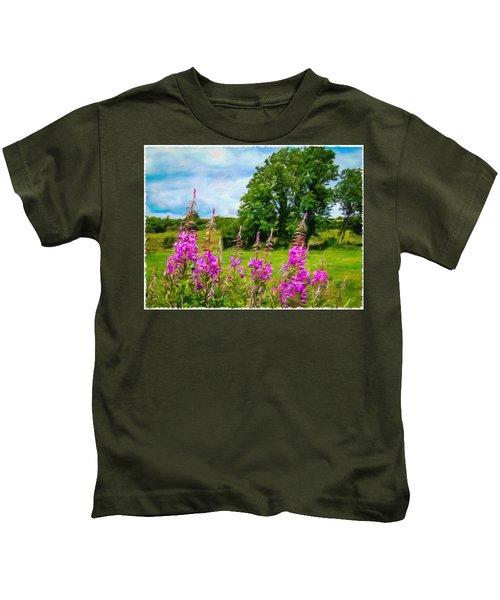 Kids T-Shirt featuring the digital art Blooming Fireweeds In Summer by James Truett