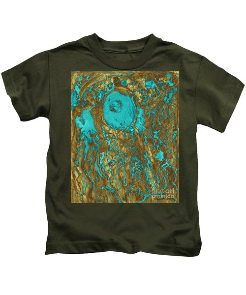 Blue And Gold Abstract Kids T-Shirt
