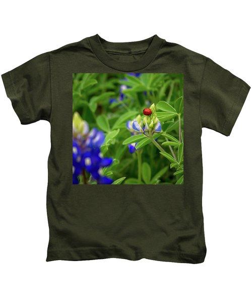 Texas Blue Bonnet And Ladybug Kids T-Shirt
