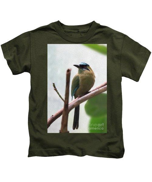 Blue-crowned Motmot Oil Kids T-Shirt