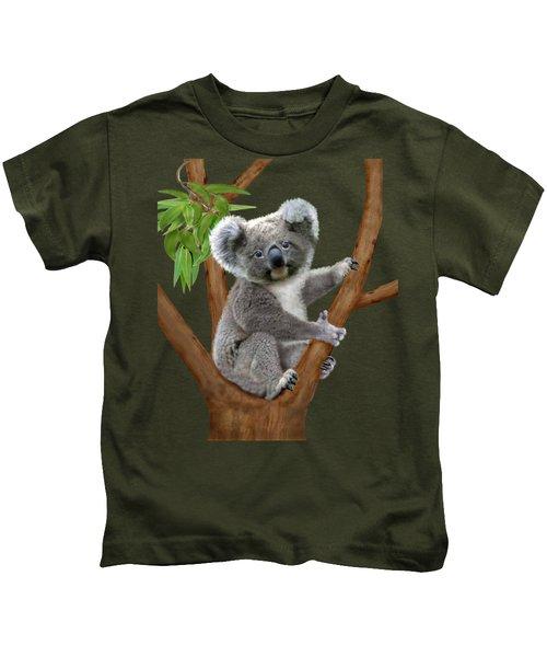 Blue-eyed Baby Koala Kids T-Shirt by Glenn Holbrook