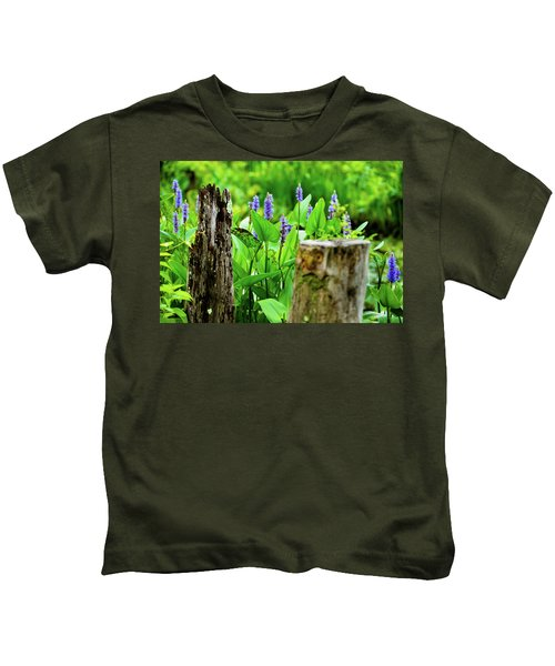 Blue Flowers And Artistic Logs Kids T-Shirt