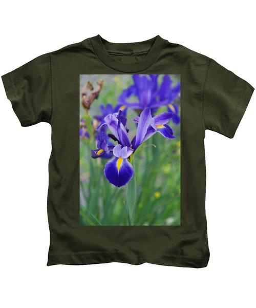 Blue Iris Flower Kids T-Shirt
