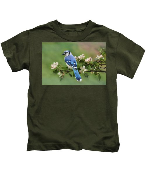 Blue Jay And Blossoms Kids T-Shirt
