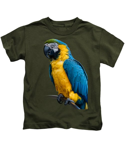 Blue Yellow Macaw No.1 Kids T-Shirt by Mark Myhaver