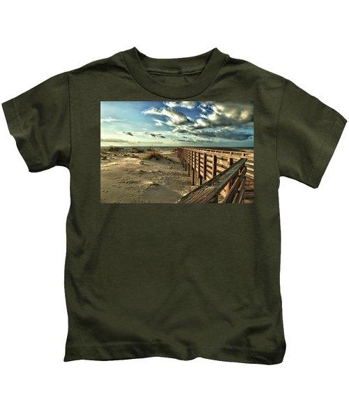 Boardwalk On The Beach Kids T-Shirt