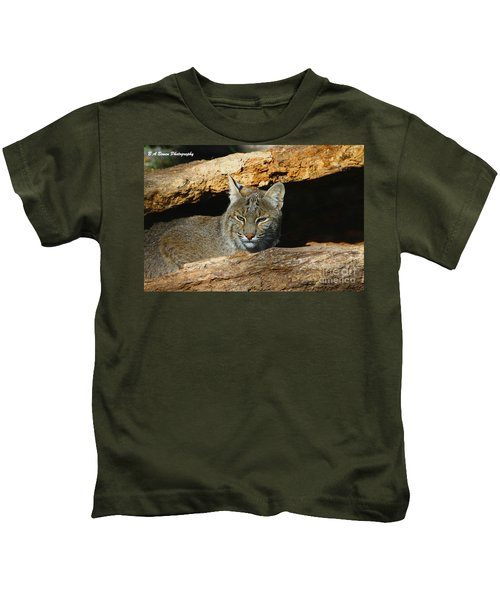 Bobcat Hiding In A Log Kids T-Shirt