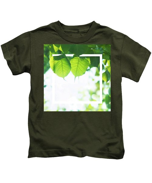 Bodhi Leaves With White Frame Kids T-Shirt
