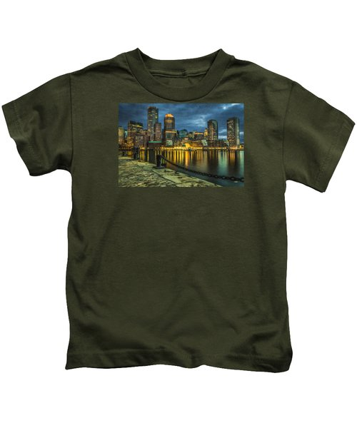Boston Skyline At Night - Cty828916 Kids T-Shirt