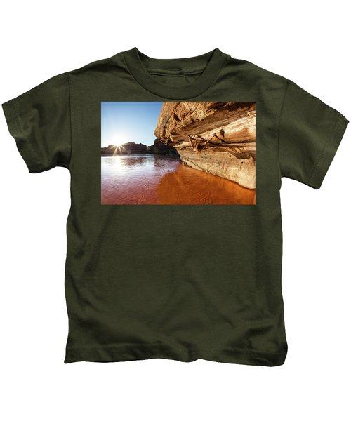 Bouldering Above River Kids T-Shirt