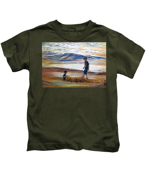 Boys Playing At The Beach Kids T-Shirt