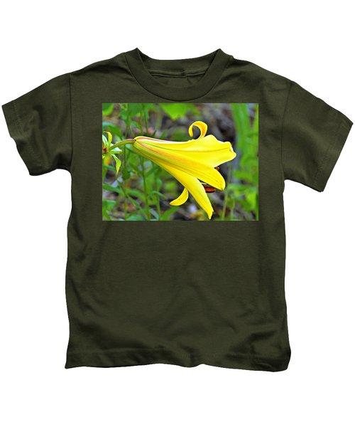 Bright Yellow Trumpet Lily Kids T-Shirt
