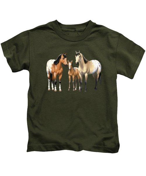 Buckskin Appaloosa Horses In Winter Pasture Kids T-Shirt